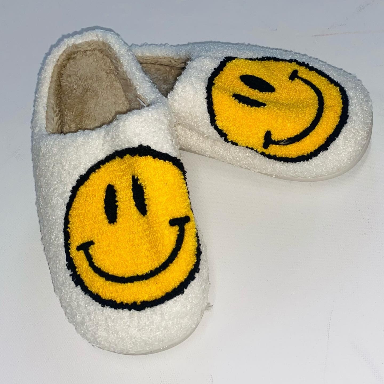 White Smiley Slippers
