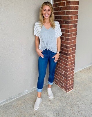 V Neck Top with Stripe Contrast