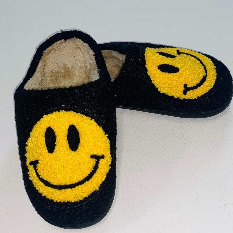 Black Smiley Slippers