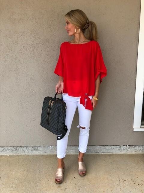 Kimono Sleeve Top - Scarlet