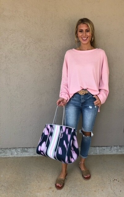 Loose Fit Thermal Top - Pink