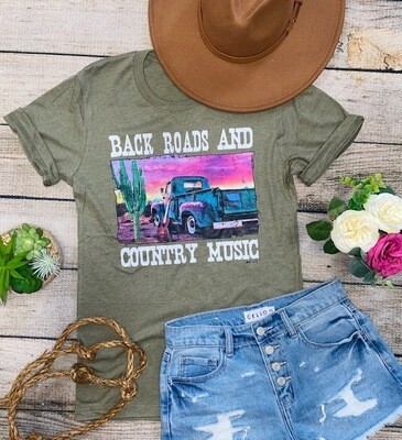 Back Roads & Country Music Tee