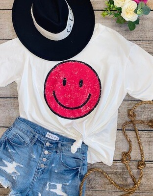 Pink Smiley Face Tee