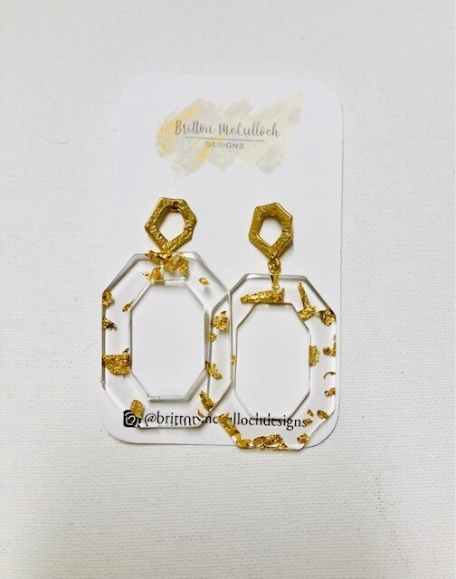 Gold Flake Earrings - Octagon Large