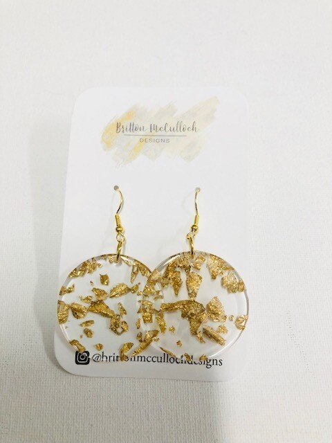 Gold Flake Earrings - Round