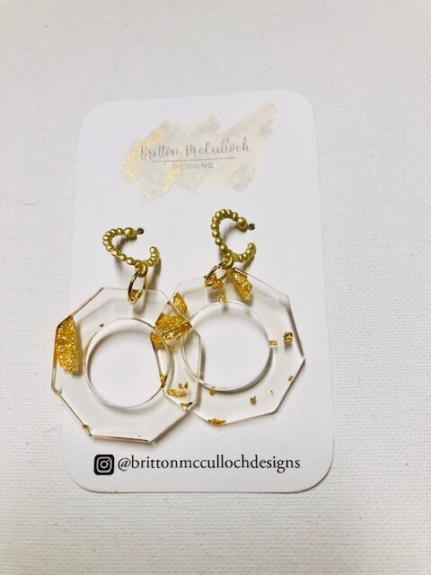 Gold Flake Earrings - Octagon Small