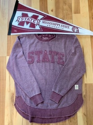 Vintage Wash STATE Sweatshirt, Maroon