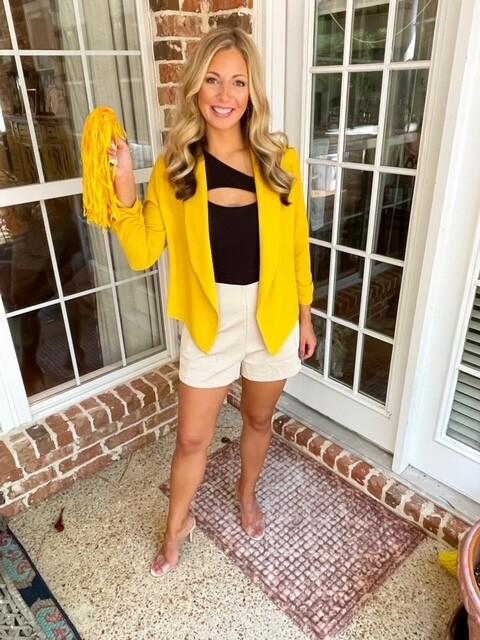 Casual Open Front Blazer Jacket, Mustard