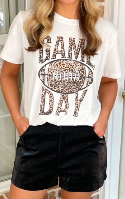 Game Day Leopard Football Tee