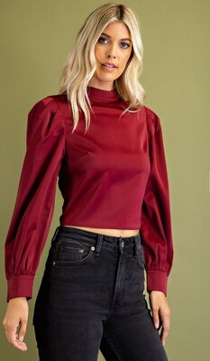 Open Back Cropped Top, Wine