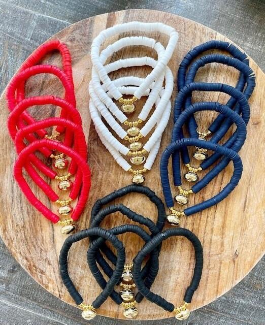 Football Charm Stretch Bracelet