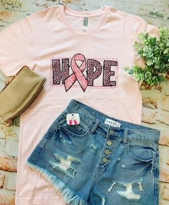 Pink Ribbon Leopard HOPE tee