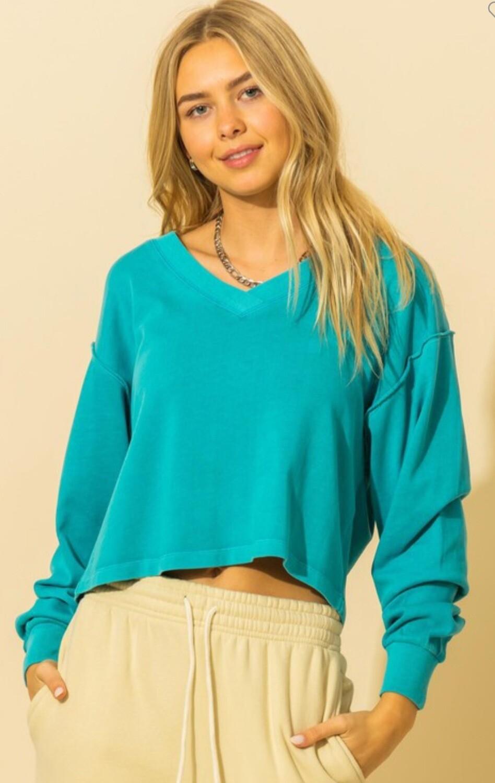 Turquoise Cropped Sweatshirt