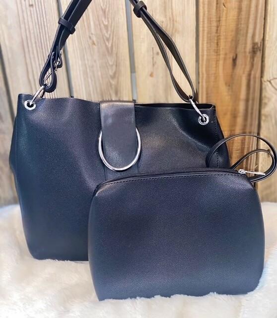 MW Slouchy Shoulder Bag with Buckle & Interior Bag, Black