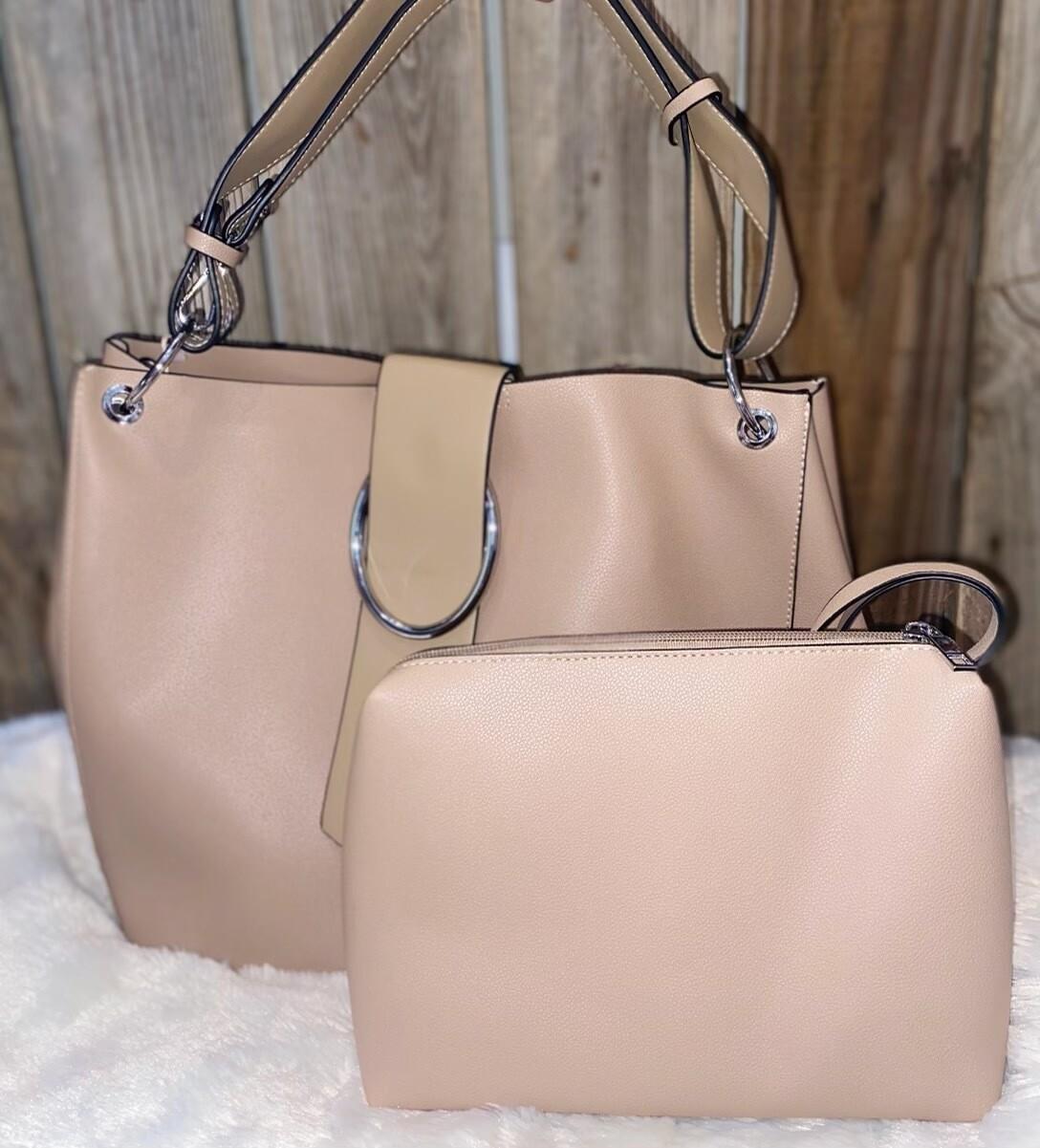 MW Slouchy Shoulder Bag with Buckle & Interior Bag, Latte
