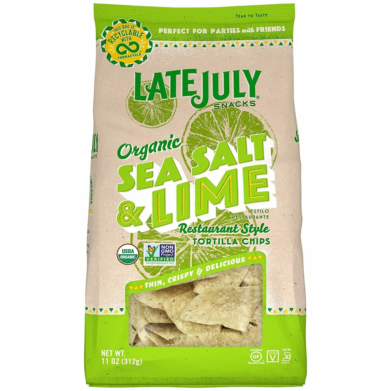 LATE JULY Snacks Restaurant Style Sea Salt & Lime Tortilla Chips (11 oz. Bag)
