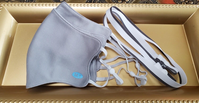 3 Pieces Set Cool 🎏🎊 Grey 🎏 🎊  - 2 Grey Masks +1 White/Grey Mask strap - 💥😷🗽