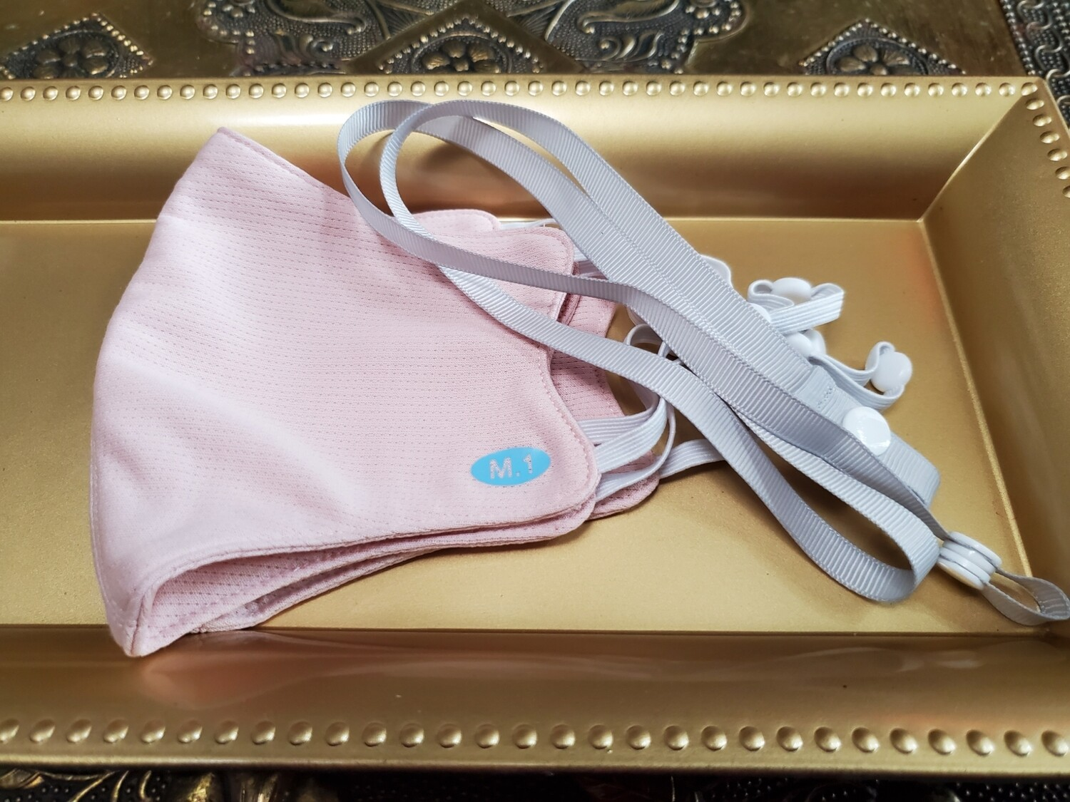 Peachy 💗🍑Pink / Grey 🍑💗 3 pieces set  - 2 Adjustable Ear loops Hygienic Nano Fiber Double Antimicrobial Layers Liquid  Repellent Fabric Face Mask +1 Grey Mask strap - 💥😷🗽