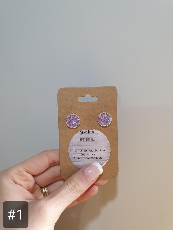 Resin Cabochon Stud Earrings