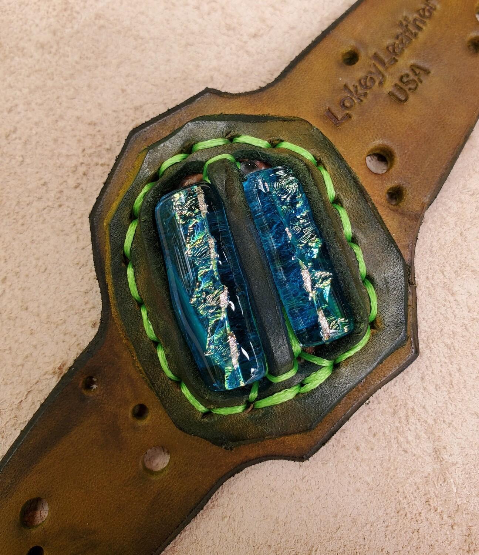 Custom Leather and Glass Bracelet