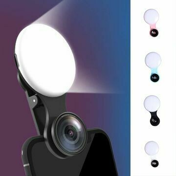 Universal Selfie LED Ring Flash Light Phone Macro Wide Angle Camera Photography