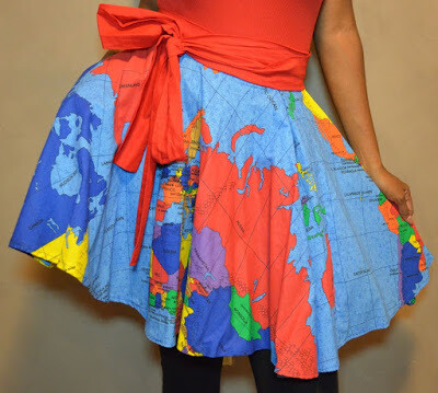 MAP OF THE WORLD SKIRT mini