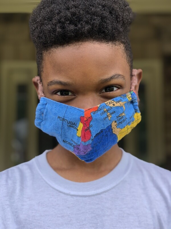 MAP OF THE WORLD face mask - Kids size