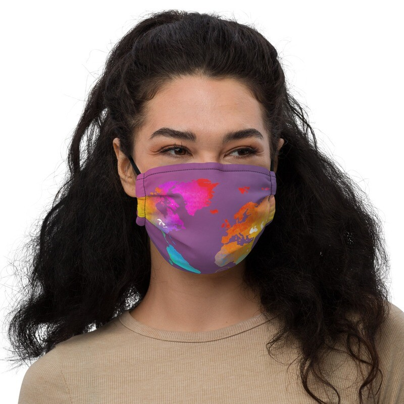 Watercolor Map of the World Premium face mask