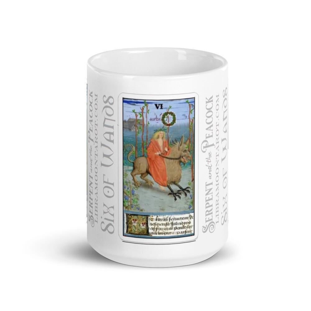 White glossy mug - Tarot; Six of Wands