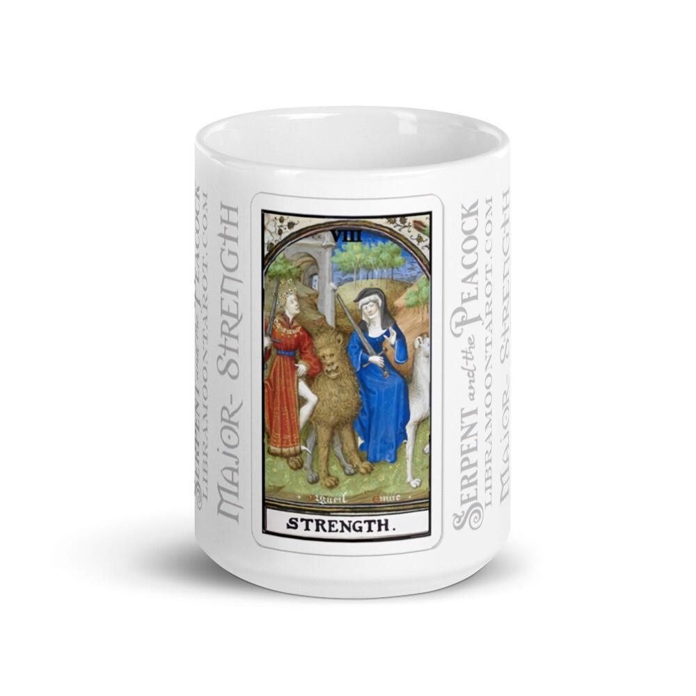 White glossy mug - Tarot; Strength