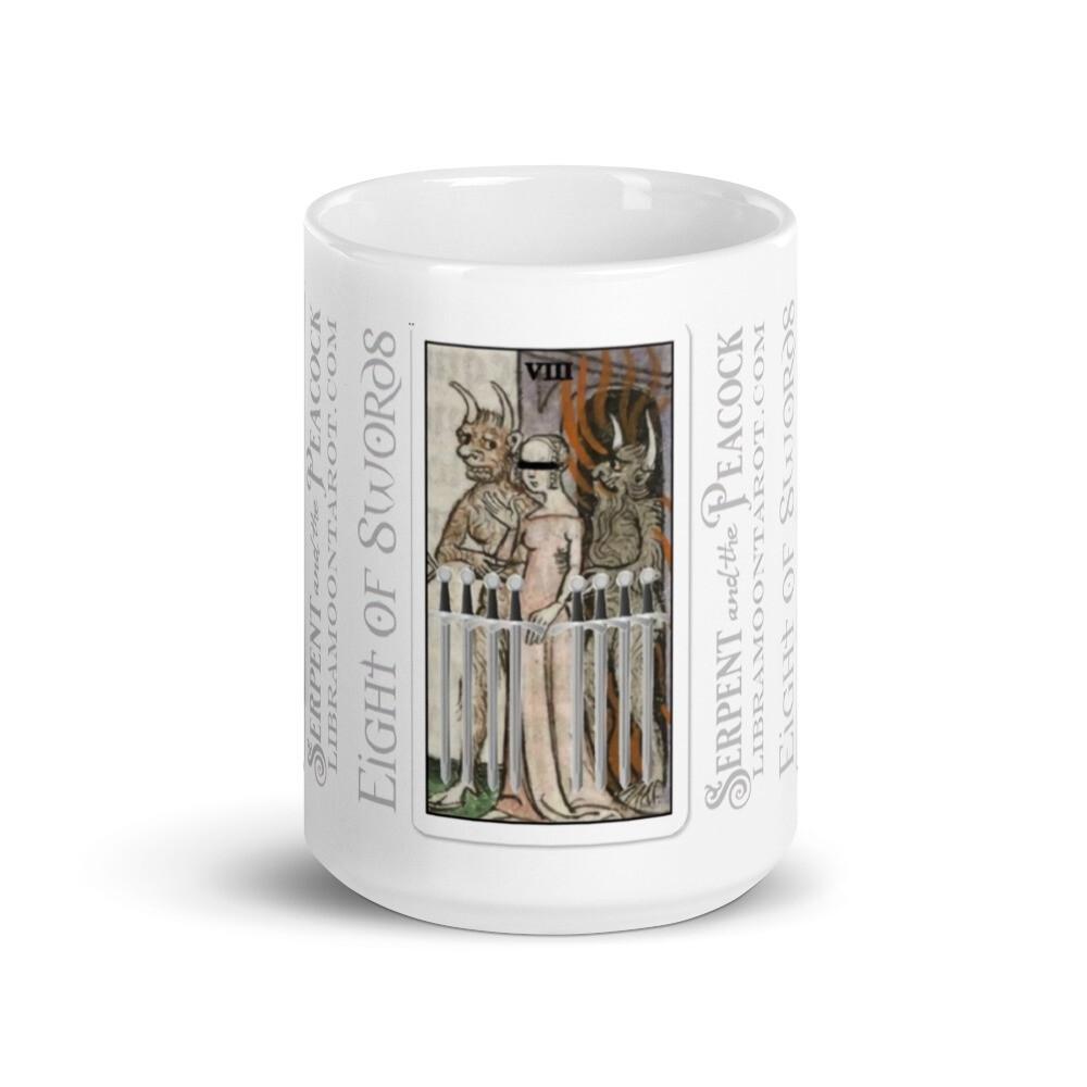 White glossy mug - Tarot; Eight of Swords