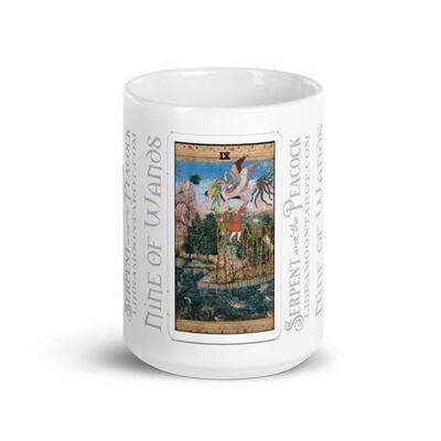 White glossy mug - Tarot; Nine of Wands