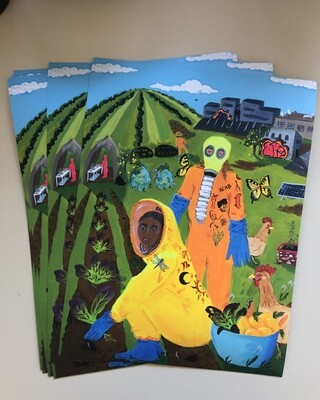 Harvesting Mustard Greens, print