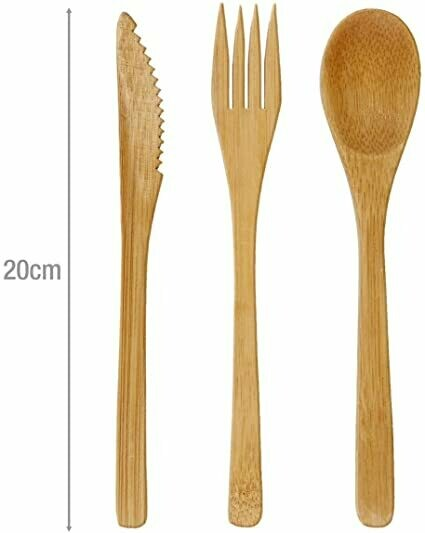 Bamboo Knife, Fork and Spoon Cutlery Set with FREE carry case