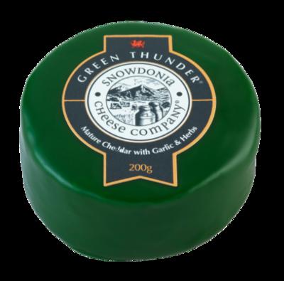 Snowdonia Green Thunder Mature Cheddar with Garlic and Herbs 200g