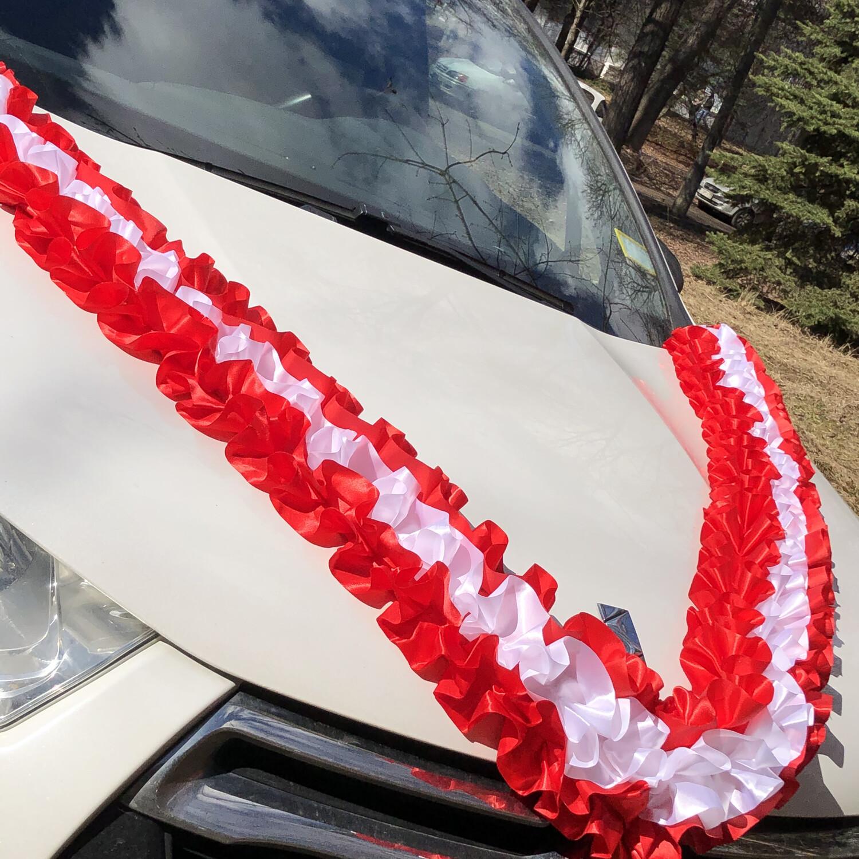 Лента д/авто «Трехрядная», атлас, красно-белая