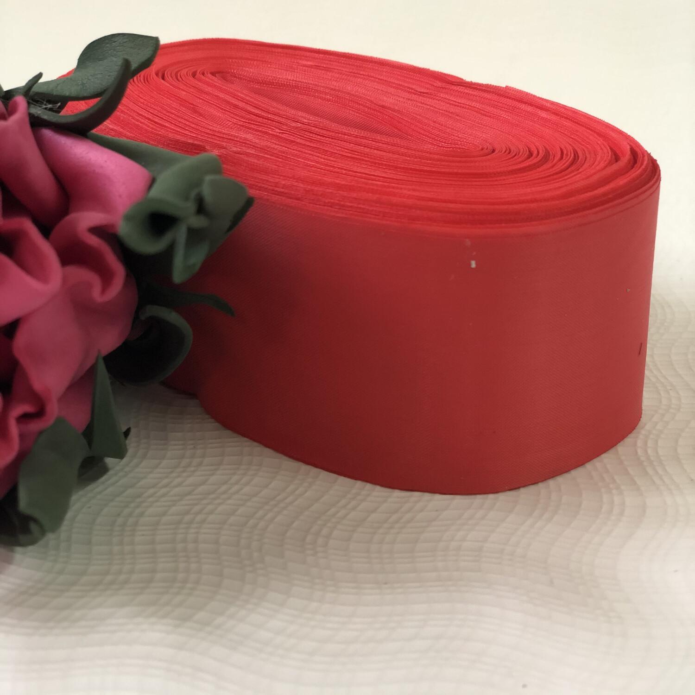 Лента метражная 5 см, п/э, красный- розовый