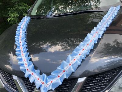 Лента д/авто «Сердечки» атлас, уп-ка 5 шт, голубой