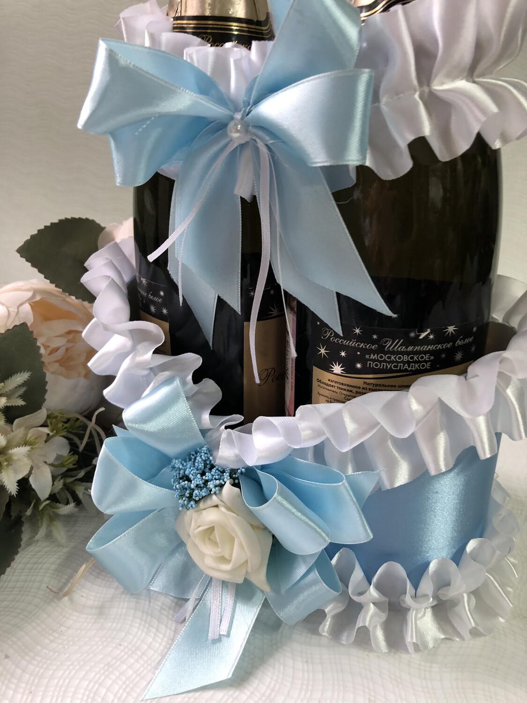 Корзинка д/шампанского &2, голубой
