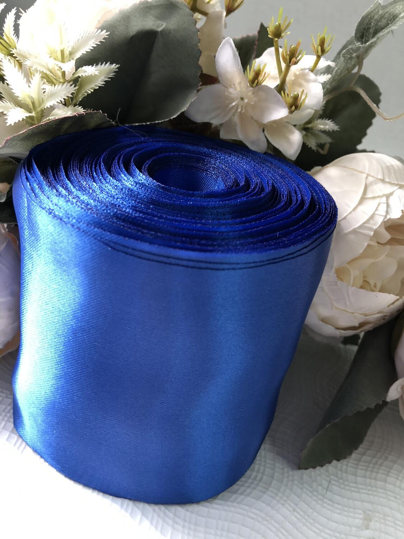 Лента метражная 10 см, атлас, синий, 48 м