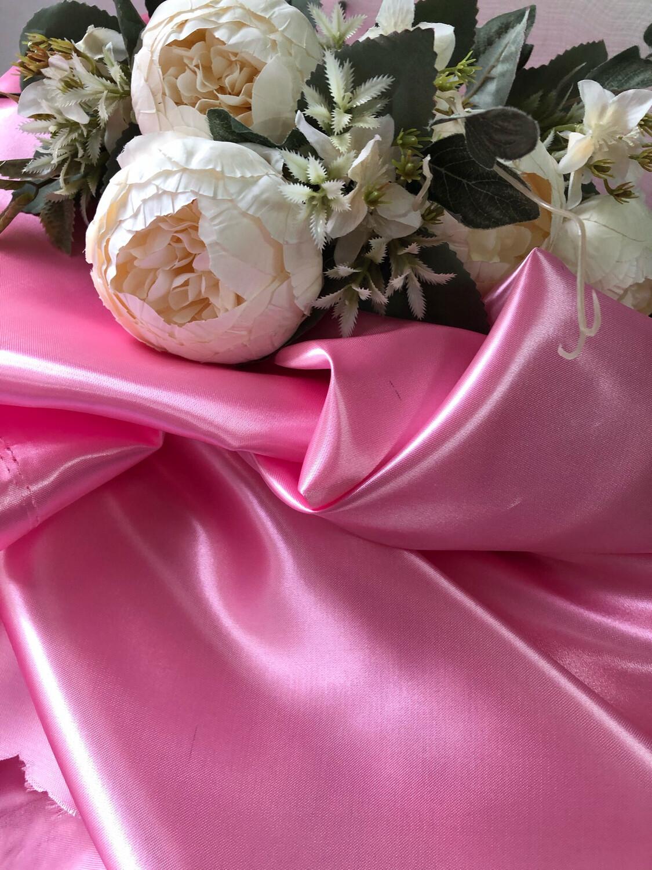 Ткань Атлас, розовый , шир 150 см