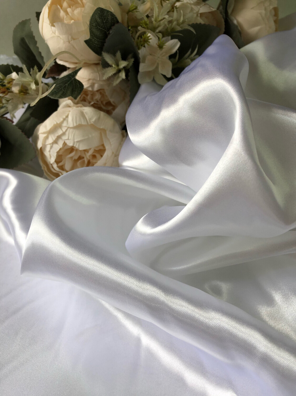 Ткань Атлас, белый, шир 150 см