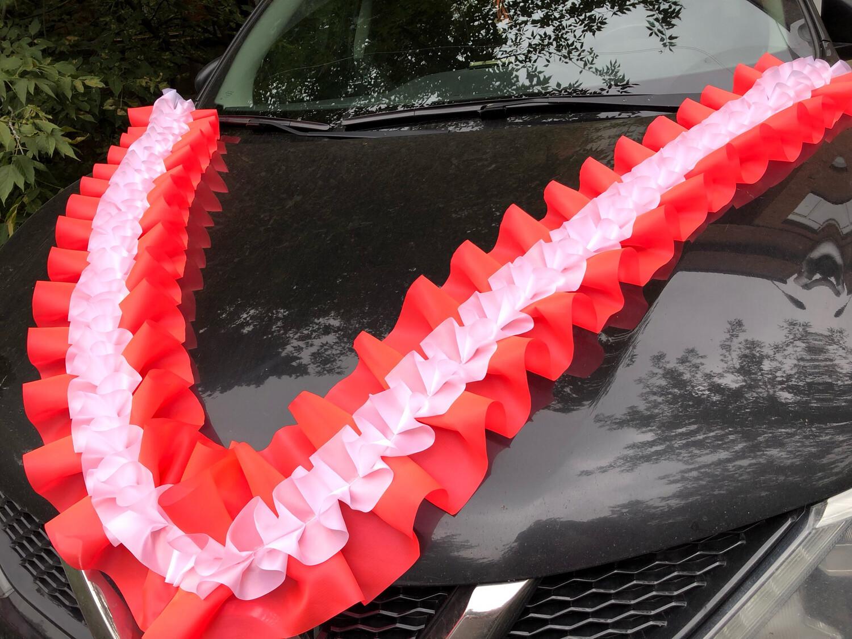 Лента-рюшь для свадебного авто «Волна», ширина 20 см, розовый люм-белый