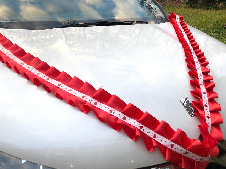 Лента д/авто «Сердечки» атлас, уп-ка 5 шт, красный