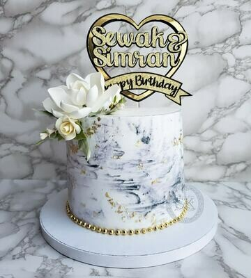 Marble & Floral Cake