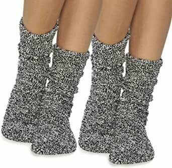 CozyChic Womens Heathered Socks - Black/White - Barefoot Dreams