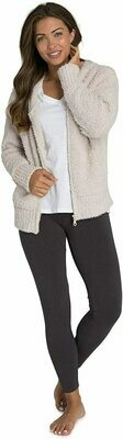 CozyChic Womens Relaxed Zip Up Hoodie - Stone/Large  - Barefoot Dreams