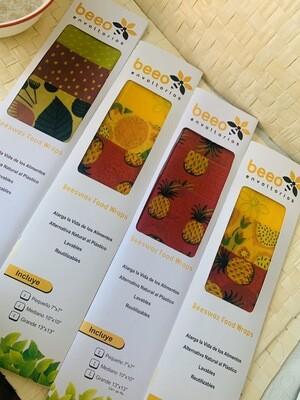 Beeo Kit de 3 envoltorios elaborados con algodón orgánico y cera de abeja natural