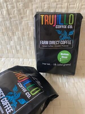 Trujillo Coffee CO.  1 libra café Gourmet tueste medio molido