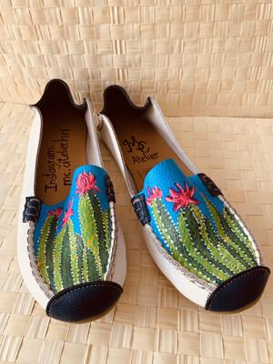 MC Atelier Mocasines de cuero pintadas a mano Cactus, talla 40
